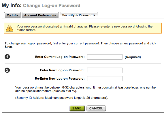 ETrade password policy
