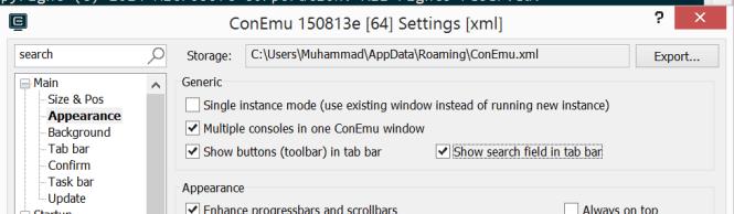 search bar settings