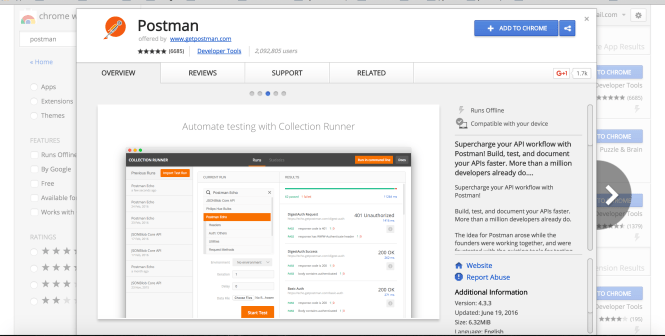 PostMan - Add to Chrome