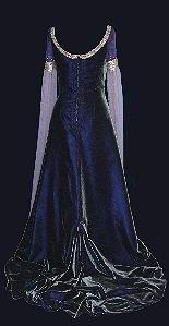 purple velvet medieval wedding dress with hanging sleeves