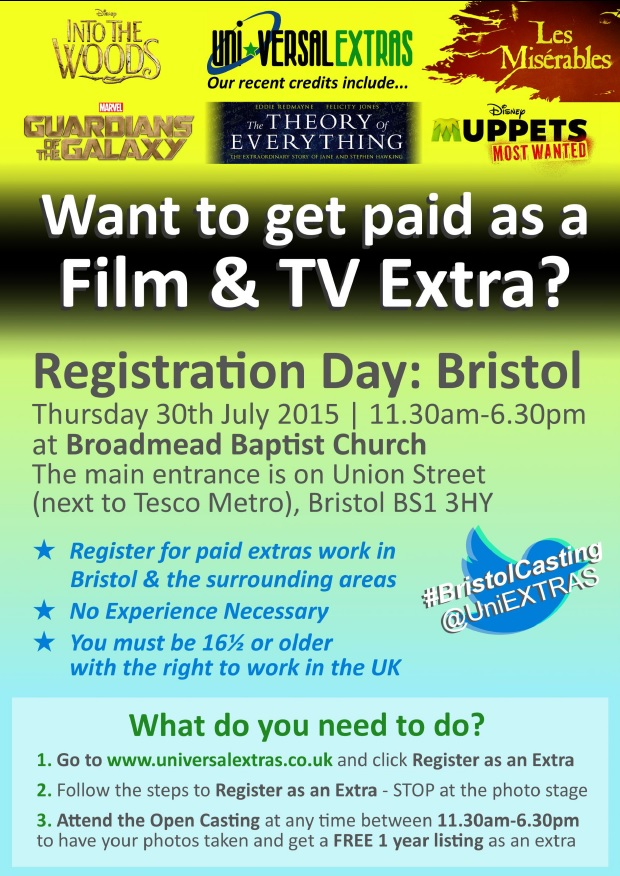 Want to be a film and TV Extra - Open registration in Bristol