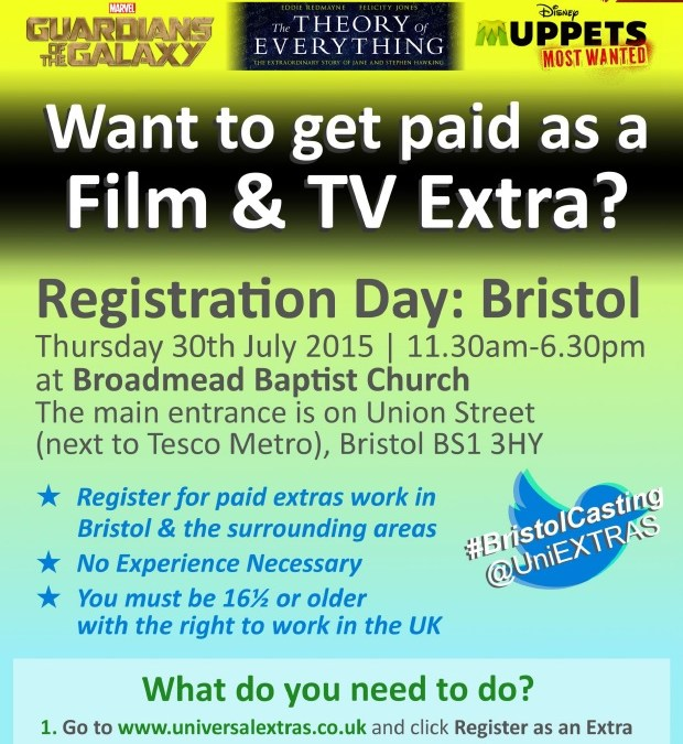 Want to be a film and TV Extra – Open registration in Bristol