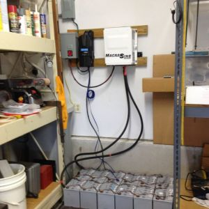 Storage batteries, 2 banks of 6 batteries, series/ parallel to make a 24 volt system.