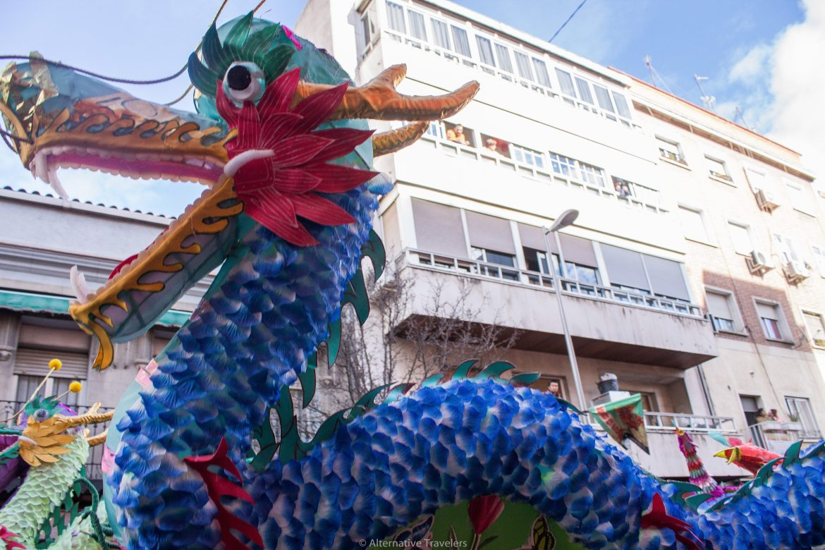 Dragon at Chinese New Year Parade in Usera, Madrid