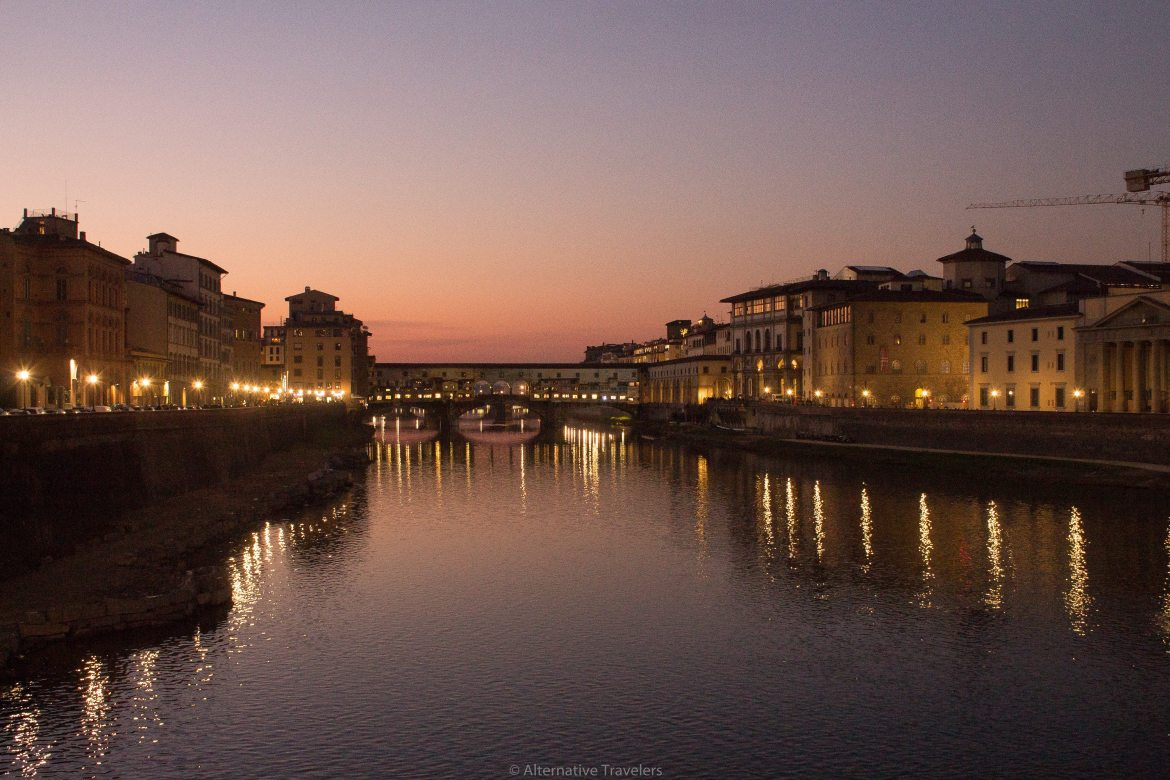 Arno river at night in Florence Italy