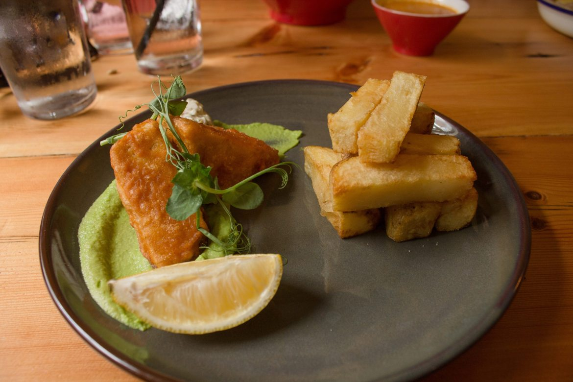 Vegan tofish and chips at The Earth and Stars in Brighton, UK