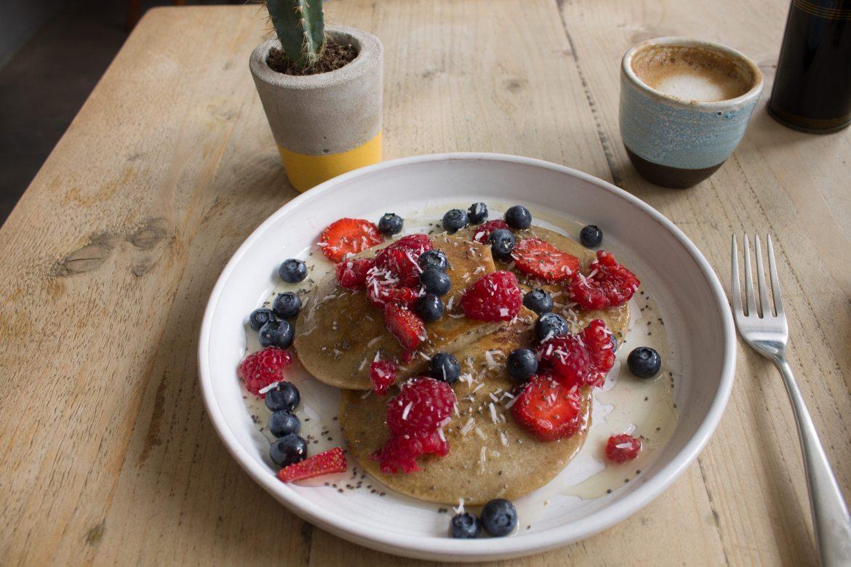 vegan pancakes at The Longhouse Cafe - vegan cafe Brighton