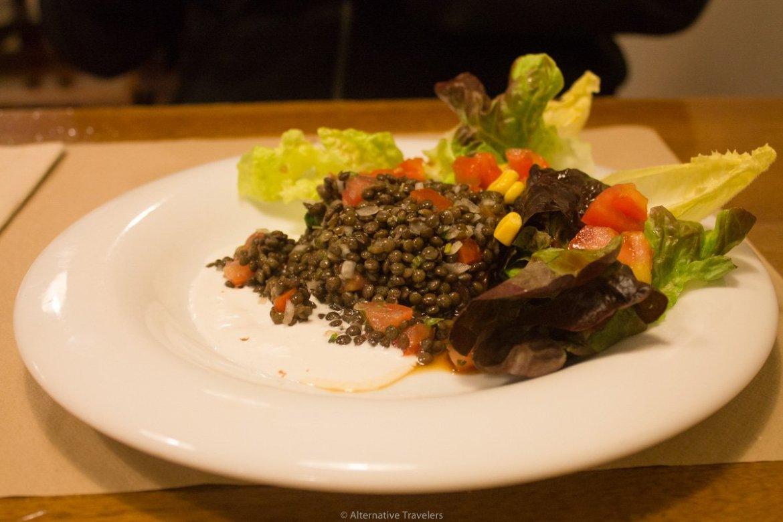 Lentil caviar salad at Km.0, San Sebastian, Spain