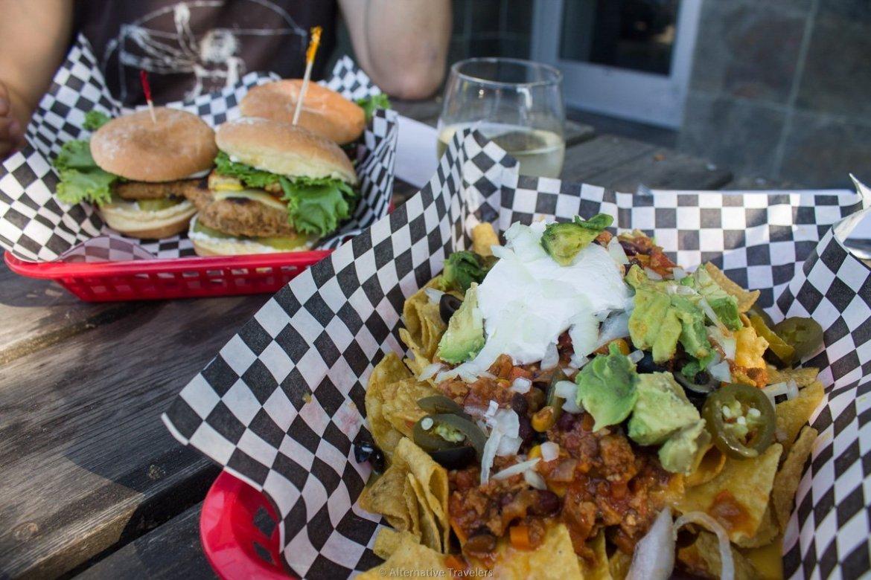 vegan sliders and nachos at DC Vegetarian in Portland