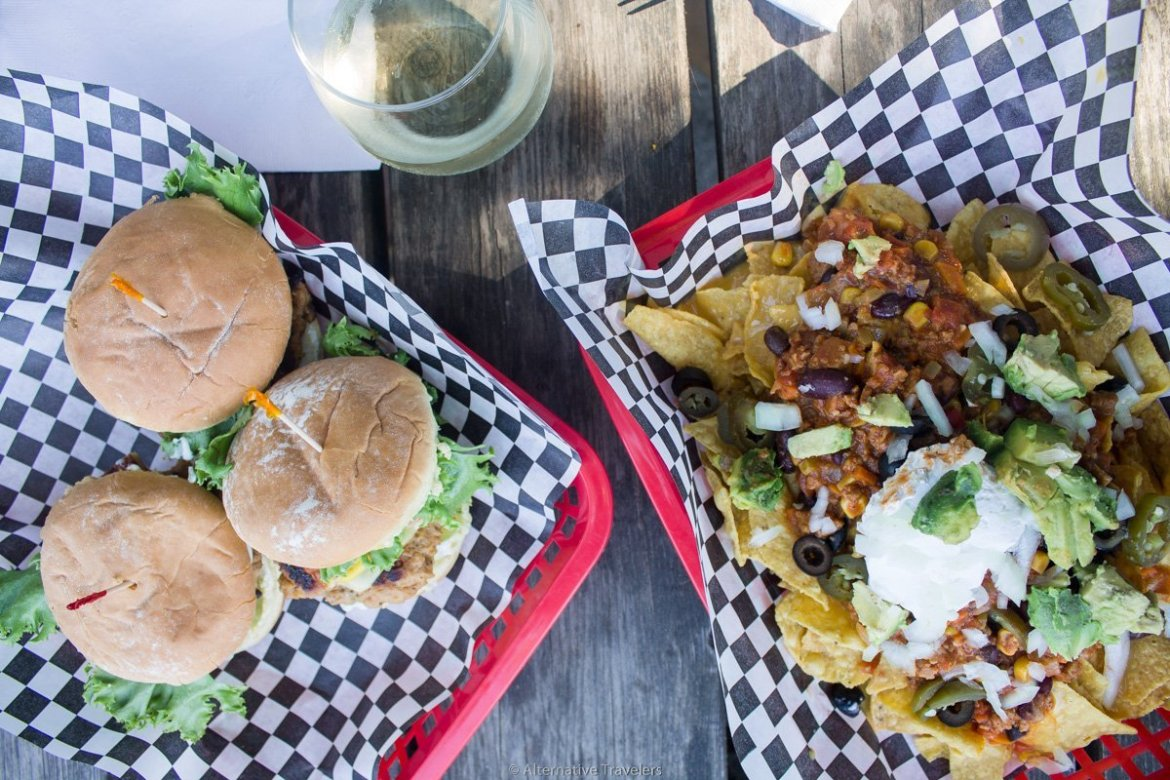 basket of vegan sliders and vegan nachos at DC vegetarian in Portland