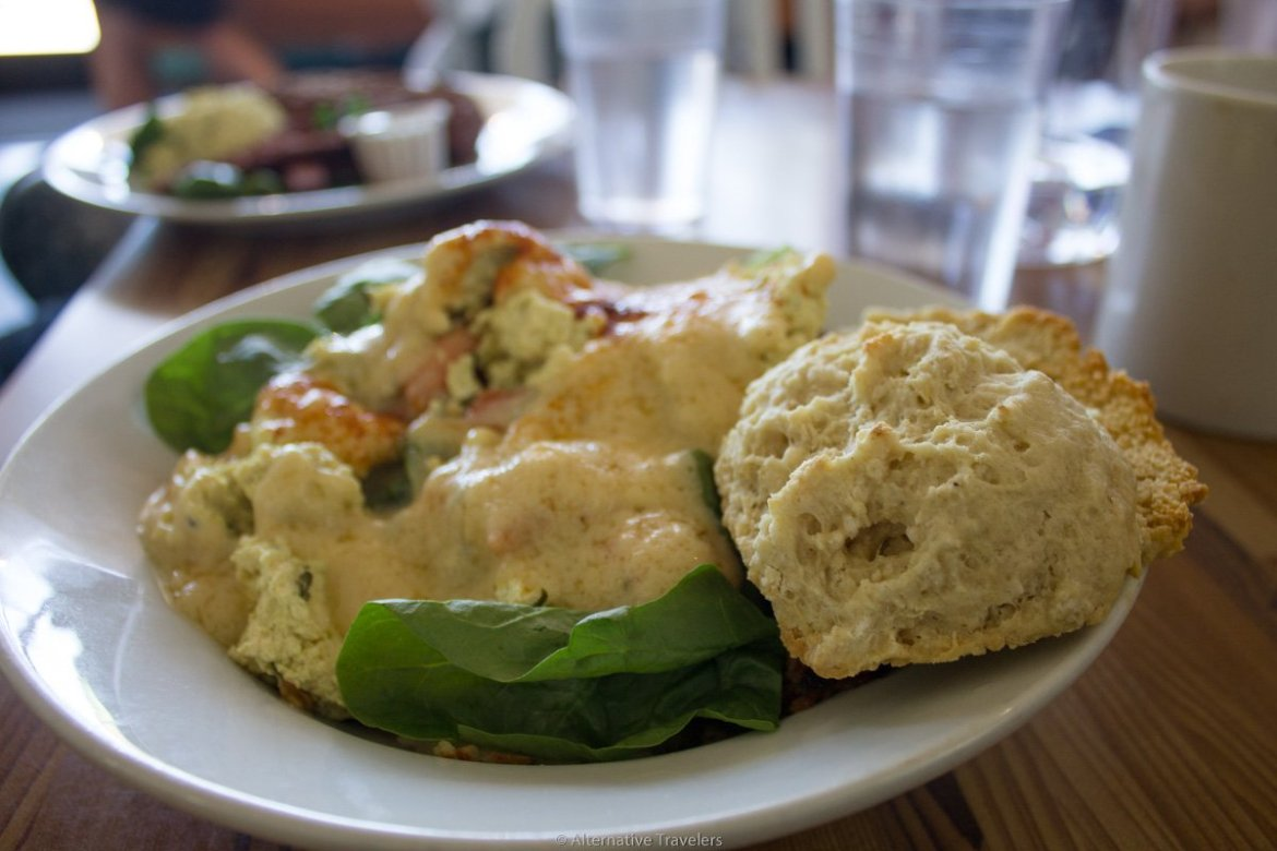 plate of tofu scramble smothered in sauce with a biscuit at Off the Griddle in Portland.
