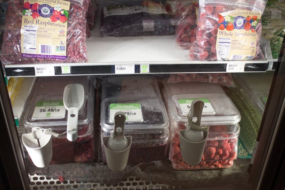 bulk frozen fruit at Peoples co-op in Portland