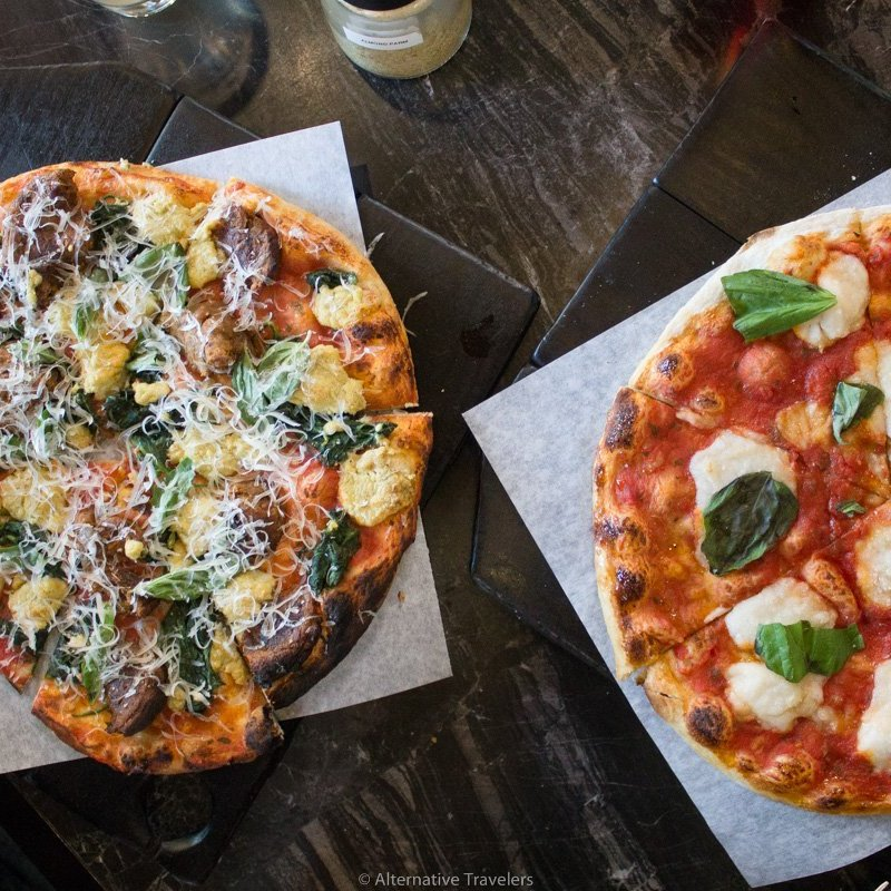 two personal pizzas at Virtuous Pie in Portland
