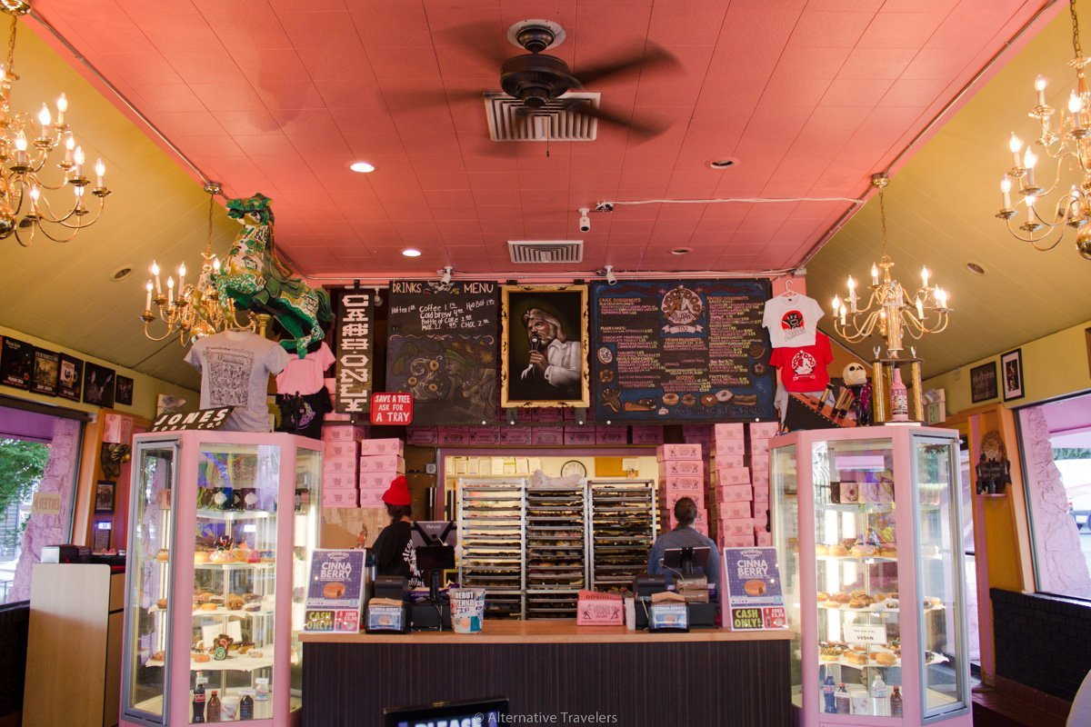 bespeckled interior of Voodoo Donuts in Portland.