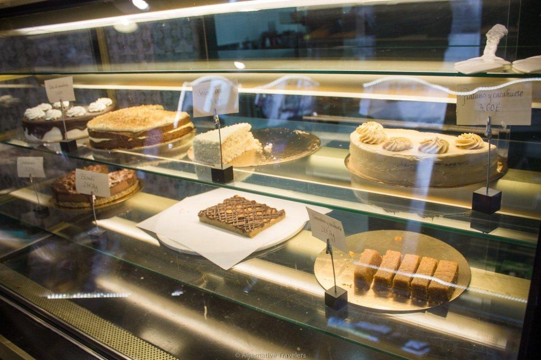 display counter at Txarloska, a vegan Polish bakery, in Bilbao, Spain