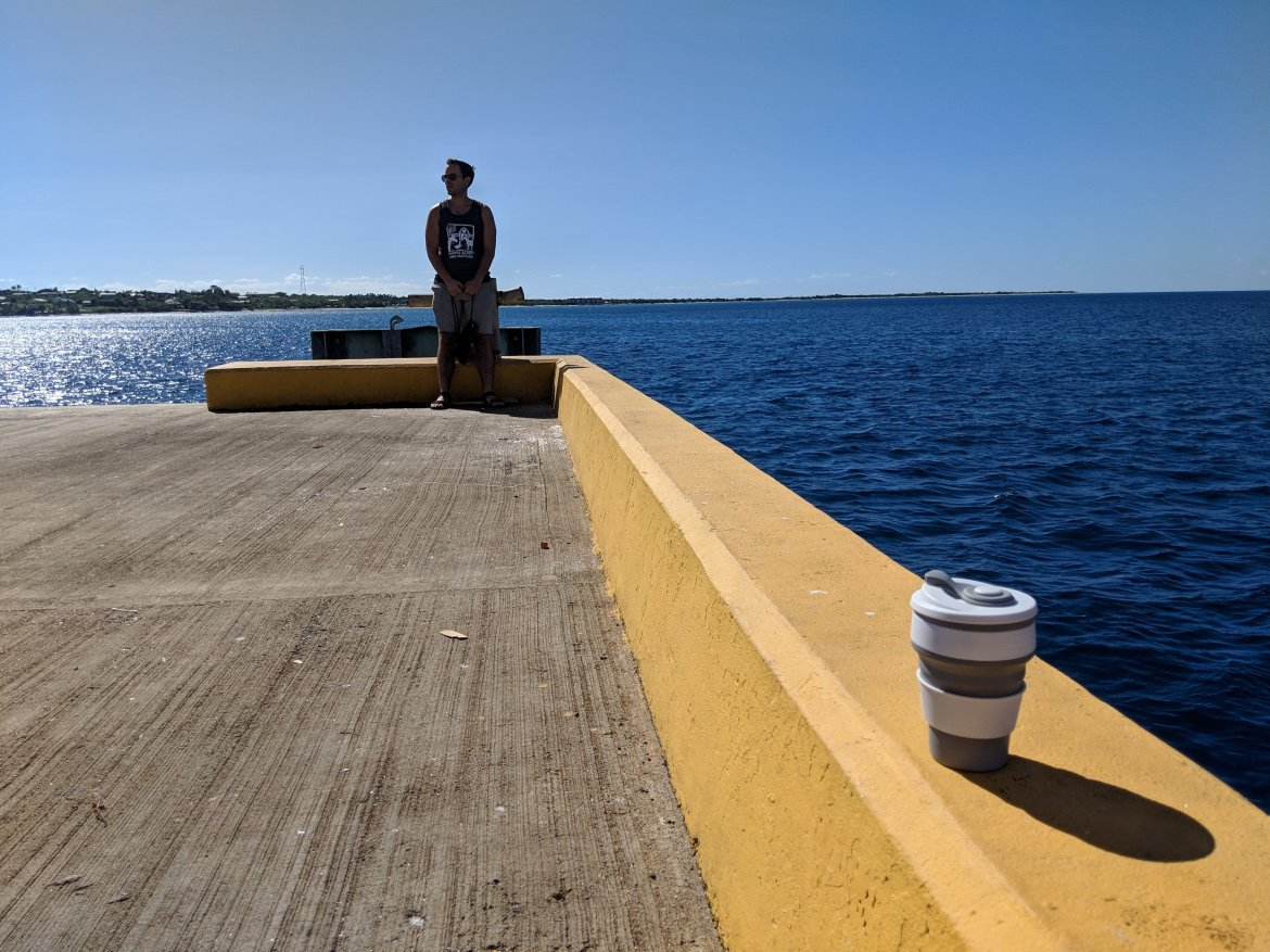 reusable cup on dock