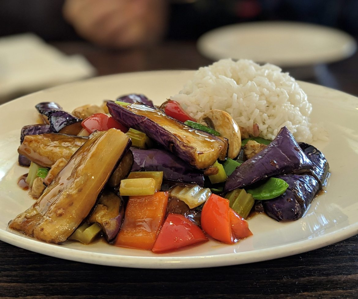 vegan eggplant stirfry at Green Zenphony in New York