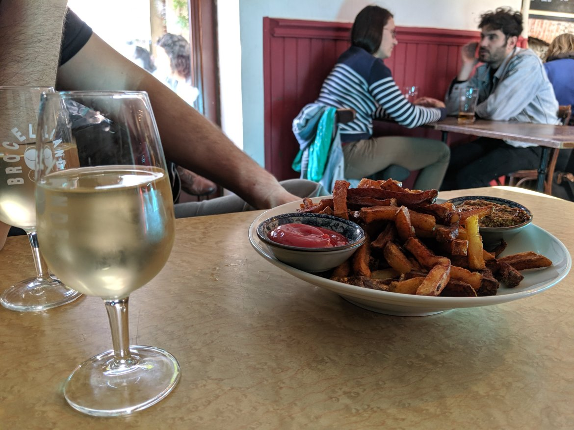 fries and wine in Nantes, France
