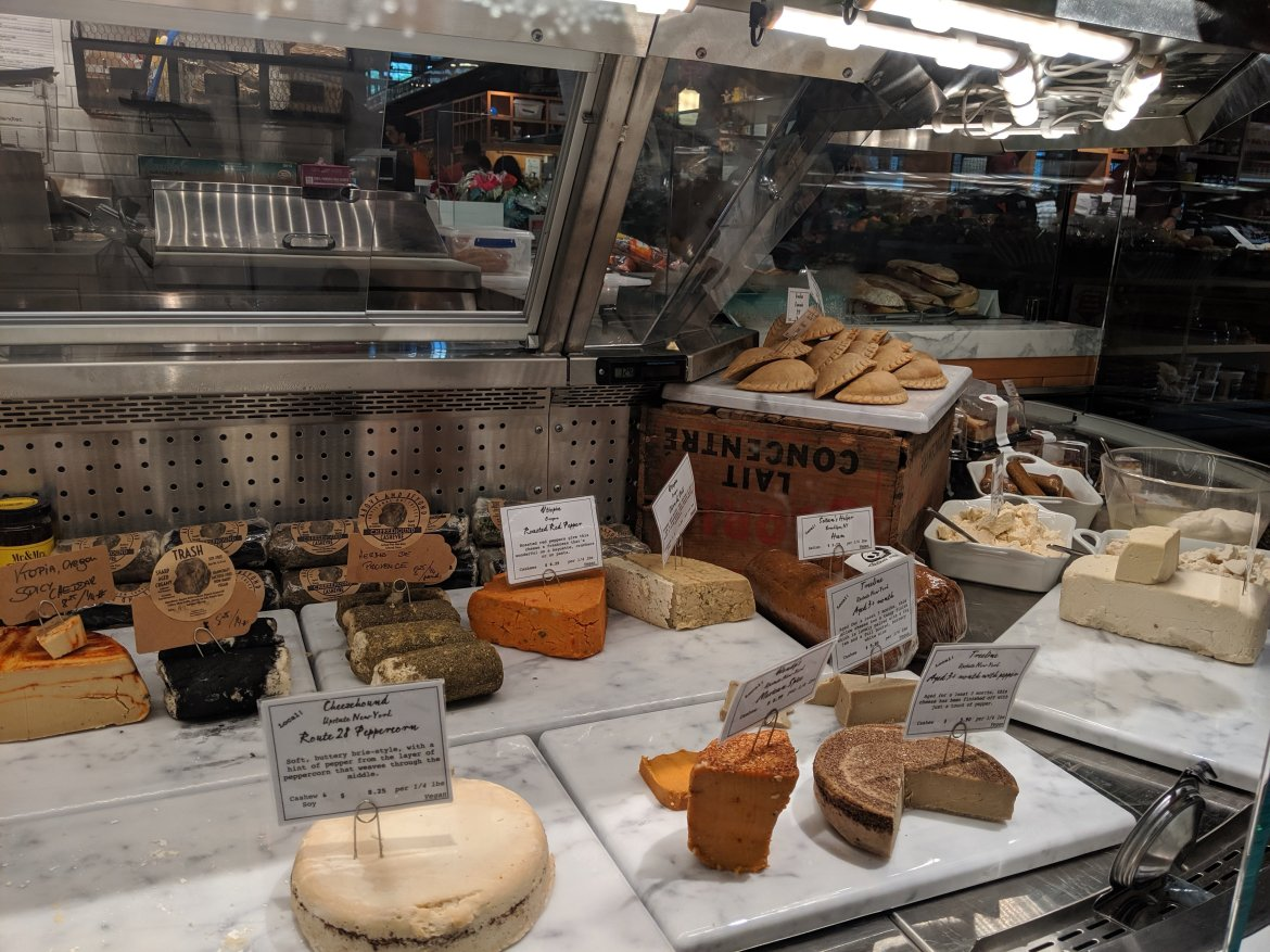 Display case of Vegan Cheese at Riverdel in Essex Market, NY