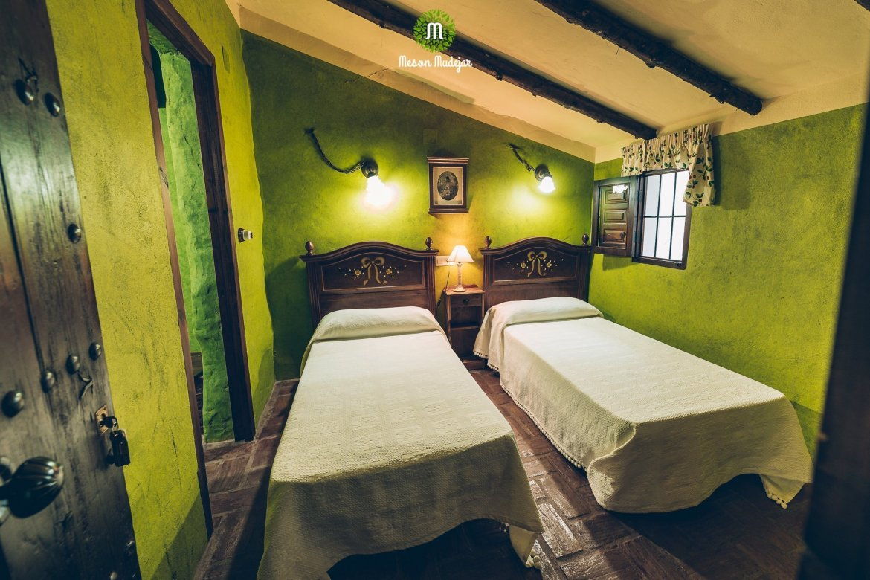Twin room at Meson Mudejar, a vegan hotel in Spain