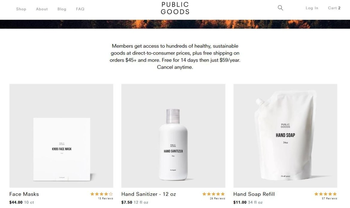 Home page of Public Goods, an ethical alternative to Amazon