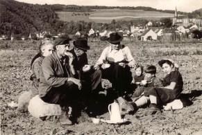 Kaffeepause bei der Kartoffelernte in der Au ca 1954 vorne links Anton Buhr, dann die Brüder Lorenz und Anton Kröll, daneben die Enkelkinder Elisabeth und Hans Rams und Hausmädchen