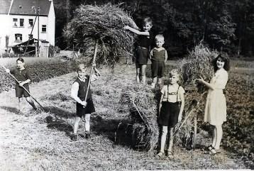 Erntezeit in der Au - um 1945/46 v.l.n.r. Waldefried Nassen, Hans Reuschenbach, Ildefons Nassen, Jo Reuschenbach, Ferienkind bei Nassen's, Waltrudis Nassen