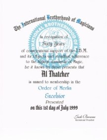 International Brotherhood of Magicians Order of Merlin Excelsior