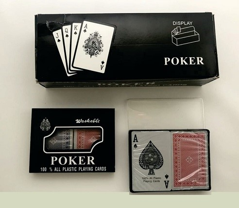 Juego de cartas poker sencillo letra pequeña 100% plásticas   SKU AK1546
