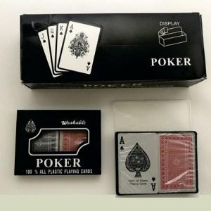 Juego de cartas poker sencillo letra pequeña 100% plásticas | SKU AK1546