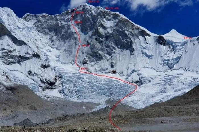 Les premières images de la nouvelle voie ouverte sur le Baruntse, 7.129m
