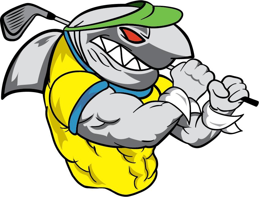 Gym Wear Shark playing Golf Logo Design