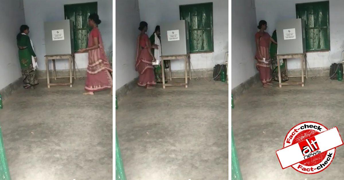 मतदान केंद्र के अंदर महिला का हाथ पकड़कर वोट डलवाने वाला वीडियो पुराना