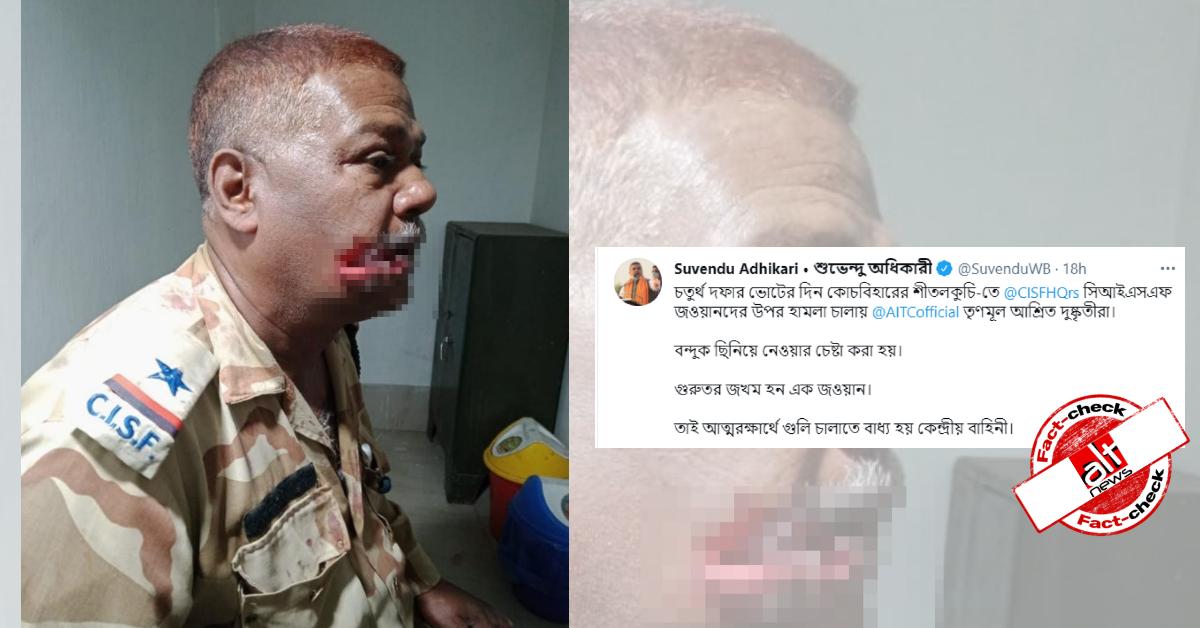 BJP नेताओं द्वारा शेयर की गयी CISF जवान की तस्वीर बंगाल नहीं झारखण्ड से थी, लंगूर ने किया था हमला