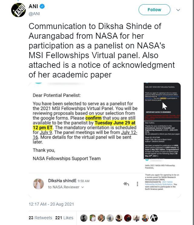 2021 08 26 16 23 10 ANI on Twitter Communication to Diksha Shinde of Aurangabad from NASA for her