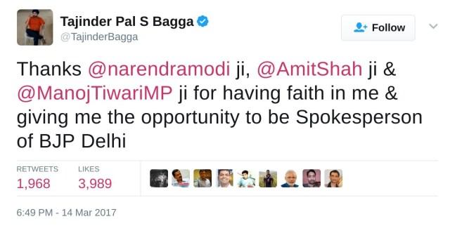 Thanks @narendramodi ji, @AmitShah ji & @ManojTiwariMP ji for having faith in me & giving me the opportunity to be Spokesperson of BJP Delhi