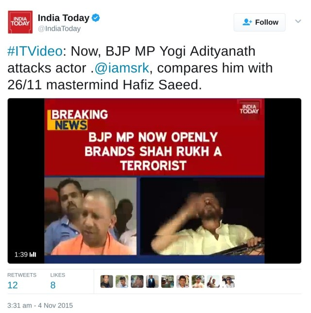 Now, BJP MP Yogi Adityanath attacks actor .@iamsrk, compares him with 26/11 mastermind Hafiz Saeed.