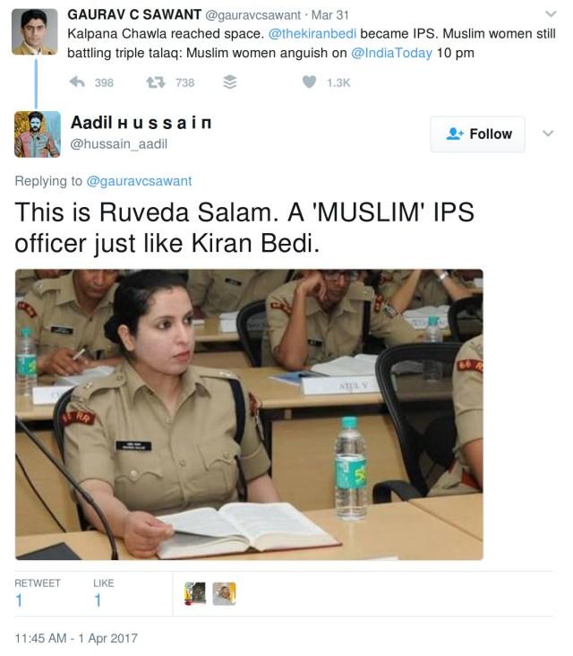 This is Ruveda Salam. A 'MUSLIM' IPS officer just like Kiran Bedi.