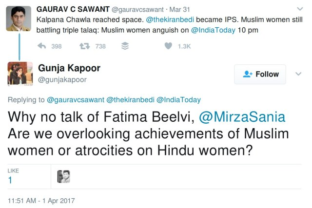 Why no talk of Fatima Beelvi, @MirzaSania Are we overlooking achievements of Muslim women or atrocities on Hindu women?