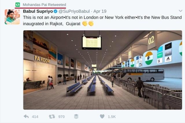 Mohandas Pai retweeting Babul Supriya Rajkot Bus Stand tweet