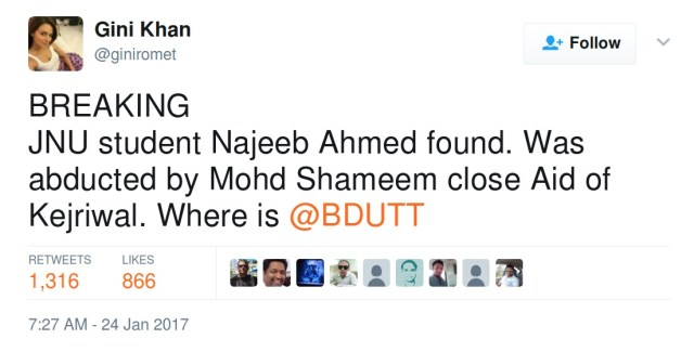 BREAKING JNU student Najeeb Ahmed found. Was abducted by Mohd Shameem close Aid of Kejriwal. Where is @BDUTT