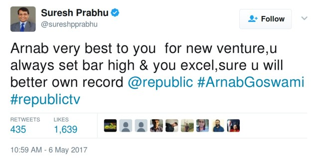 Arnab very best to you for new venture,u always set bar high & you excel,sure u will better own record @republic #ArnabGoswami #republictv