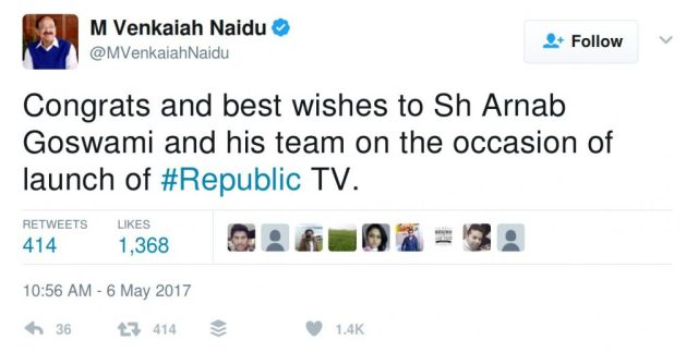 Congrats and best wishes to Sh Arnab Goswami and his team on the occasion of launch of #Republic TV.