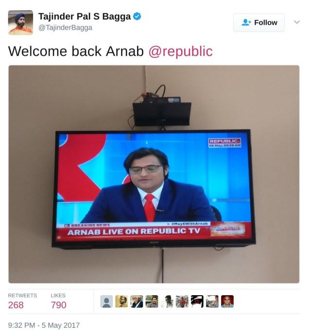Welcome back Arnab @republic