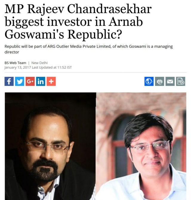 MP Rajeev Chandrasekhar biggest investor in Arnab Goswami's republic