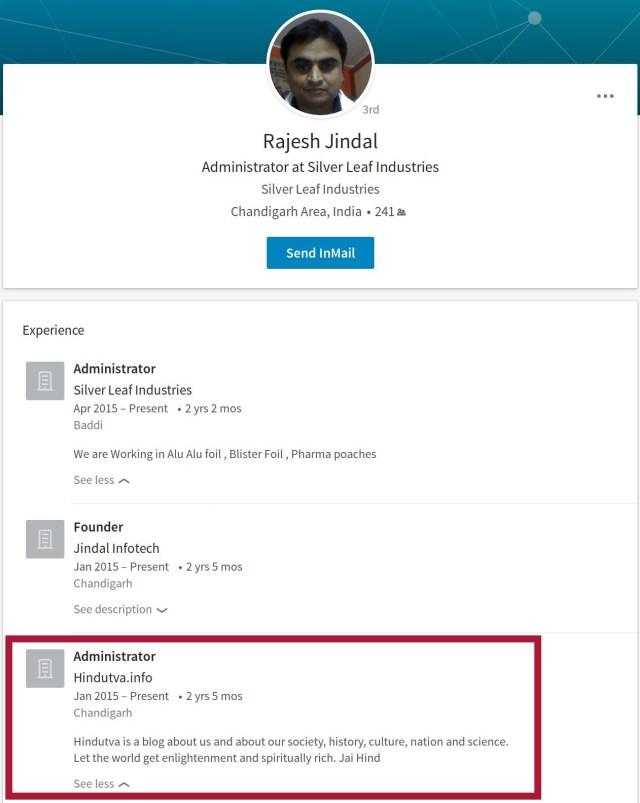 Rajesh Jindal Hindutva.info LinkedIn Profile
