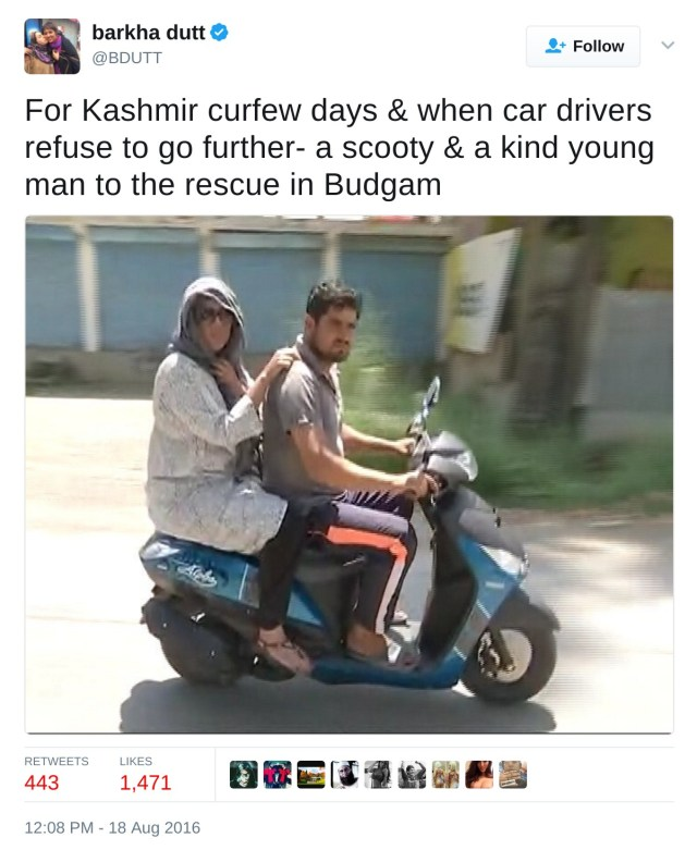 For Kashmir curfew days & when car drivers refuse to go further- a scooty & a kind young man to the rescue in Budgam