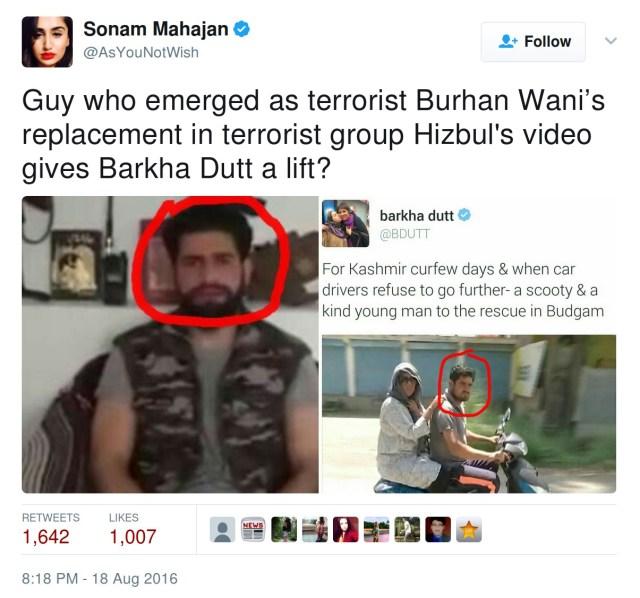 Sonam Mahajan: Guy who emerged as terrorist Burhan Wani's replacement in terrorist group Hizbul's video gives Barkha Dutta a lift?