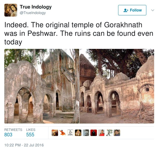 The original temple of Gorakhnath was in Peshwar. The ruins can be found even today.