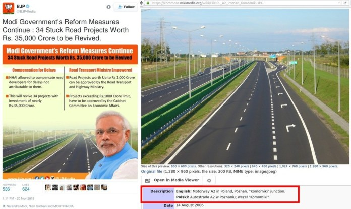 BJPs-official-Twitter-account-uses-imagery-of-Motorway-A2-of-Poland-to-show-Modijis-achievements-Photoshop-Zindabad-Development-Murdabad